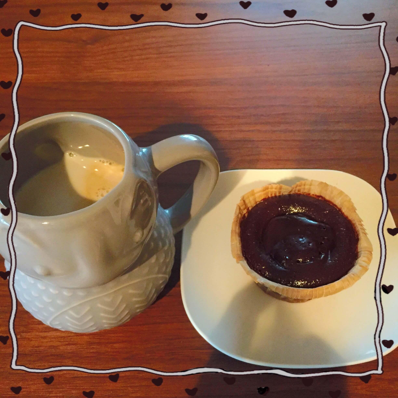 今日のお茶タイムはフォンダンショコラとアイスカフェラテのブログ画像